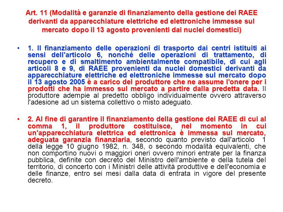 Art. 10 (Modalità e garanzie di finanziamento della gestione dei RAEE storici provenienti dai nuclei domestici) 1. Il finanziamento delle operazioni d