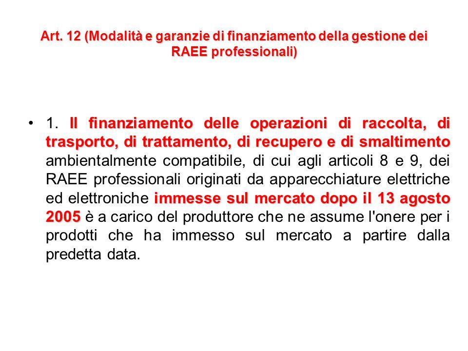 Art. 11 (Modalità e garanzie di finanziamento della gestione dei RAEE derivanti da apparecchiature elettriche ed elettroniche immesse sul mercato dopo