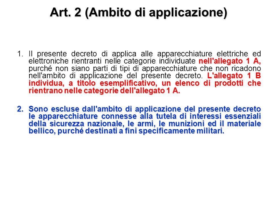 Art. 1 (Finalità) 1. Il presente decreto stabilisce misure e procedure finalizzate a: a) prevenire la produzione di rifiuti di apparecchiature elettri