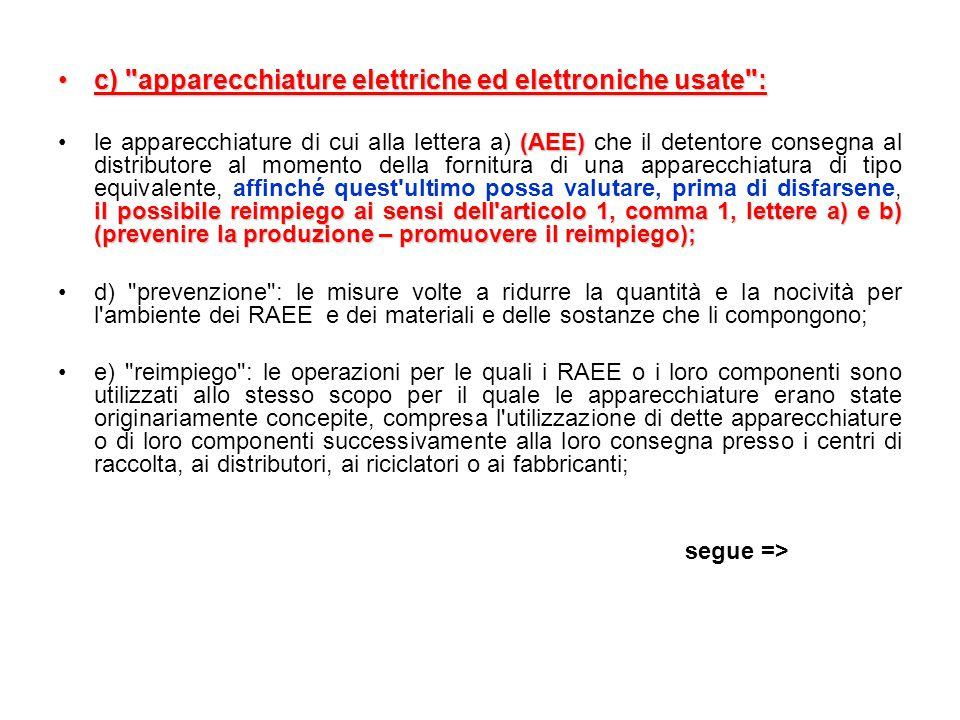 c) apparecchiature elettriche ed elettroniche usate :c) apparecchiature elettriche ed elettroniche usate : (AEE) il possibile reimpiego ai sensi dell articolo 1, comma 1, lettere a) e b) (prevenire la produzione – promuovere il reimpiego);le apparecchiature di cui alla lettera a) (AEE) che il detentore consegna al distributore al momento della fornitura di una apparecchiatura di tipo equivalente, affinché quest ultimo possa valutare, prima di disfarsene, il possibile reimpiego ai sensi dell articolo 1, comma 1, lettere a) e b) (prevenire la produzione – promuovere il reimpiego); d) prevenzione : le misure volte a ridurre la quantità e la nocività per l ambiente dei RAEE e dei materiali e delle sostanze che li compongono; e) reimpiego : le operazioni per le quali i RAEE o i loro componenti sono utilizzati allo stesso scopo per il quale le apparecchiature erano state originariamente concepite, compresa l utilizzazione di dette apparecchiature o di loro componenti successivamente alla loro consegna presso i centri di raccolta, ai distributori, ai riciclatori o ai fabbricanti; segue =>