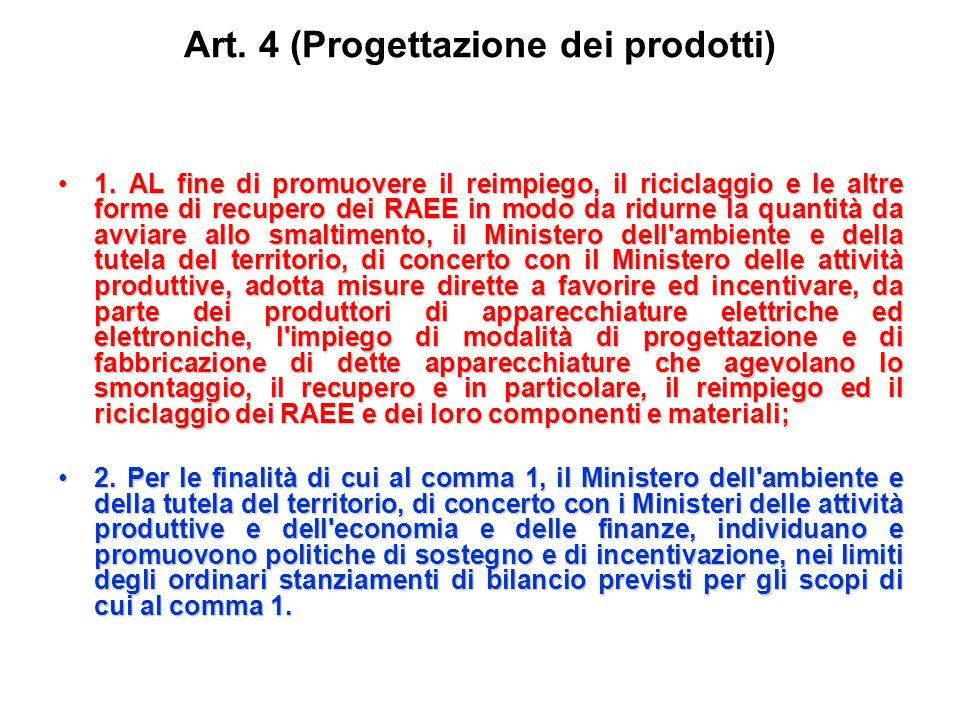 Art.4 (Progettazione dei prodotti) 1.