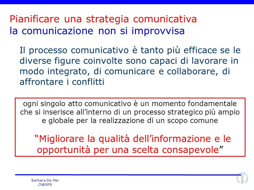 Barbara De Mei CNESPS ogni singolo atto comunicativo è un momento fondamentale che si inserisce all'interno di un processo strategico più ampio e glob