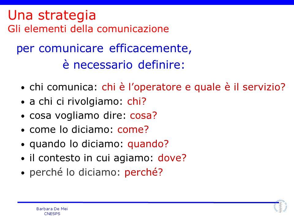 Barbara De Mei CNESPS p er comunicare efficacemente, è necessario definire: chi comunica: chi è l'operatore e quale è il servizio? a chi ci rivolgiamo