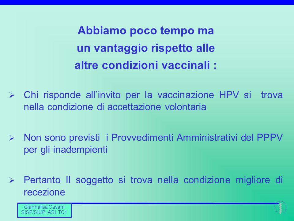 Barbara De Mei CNESPS Giannalisa Cavani SISP/SIUP- ASL TO1 Abbiamo poco tempo ma un vantaggio rispetto alle altre condizioni vaccinali :  Chi rispond