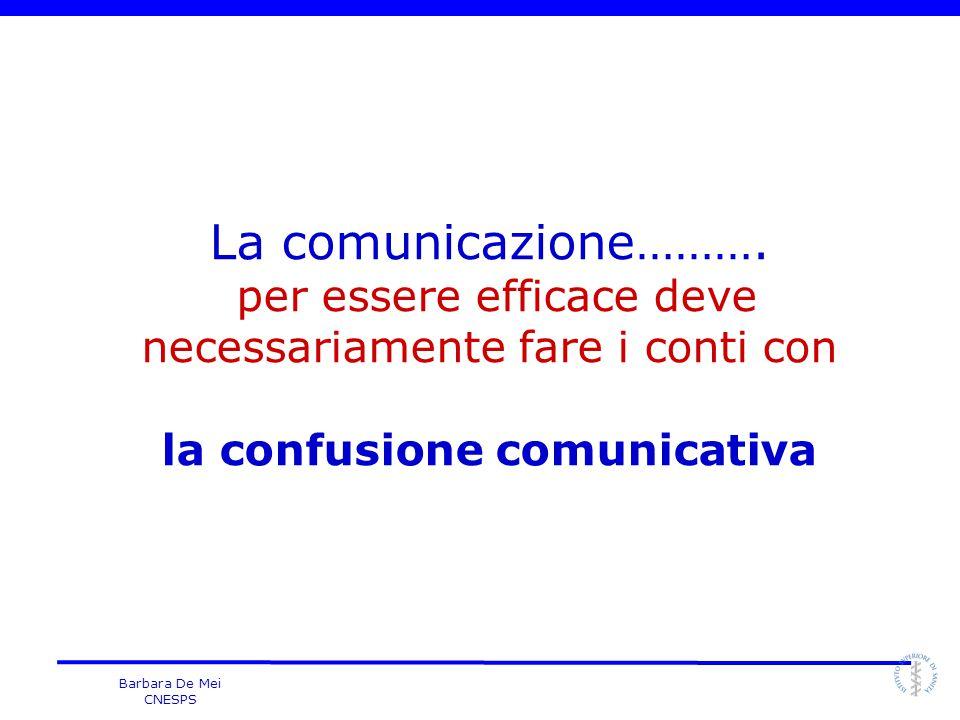 Barbara De Mei CNESPS La comunicazione………. per essere efficace deve necessariamente fare i conti con la confusione comunicativa