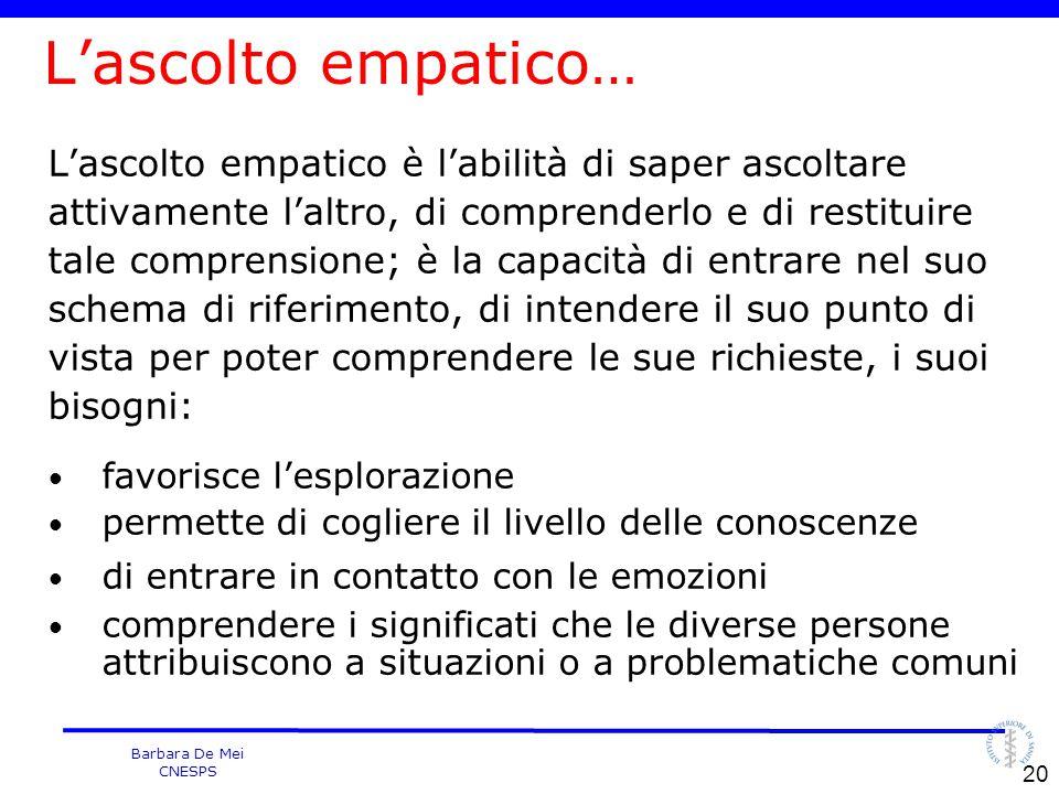 Barbara De Mei CNESPS L'ascolto empatico… L'ascolto empatico è l'abilità di saper ascoltare attivamente l'altro, di comprenderlo e di restituire tale
