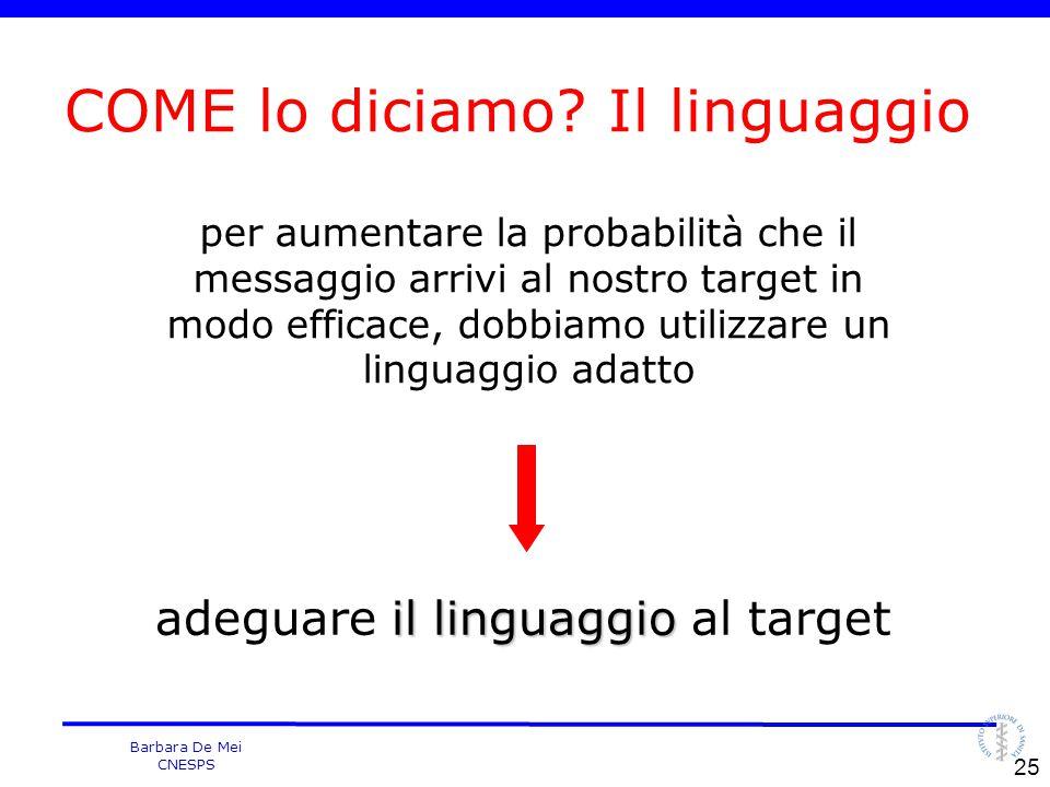 Barbara De Mei CNESPS per aumentare la probabilità che il messaggio arrivi al nostro target in modo efficace, dobbiamo utilizzare un linguaggio adatto