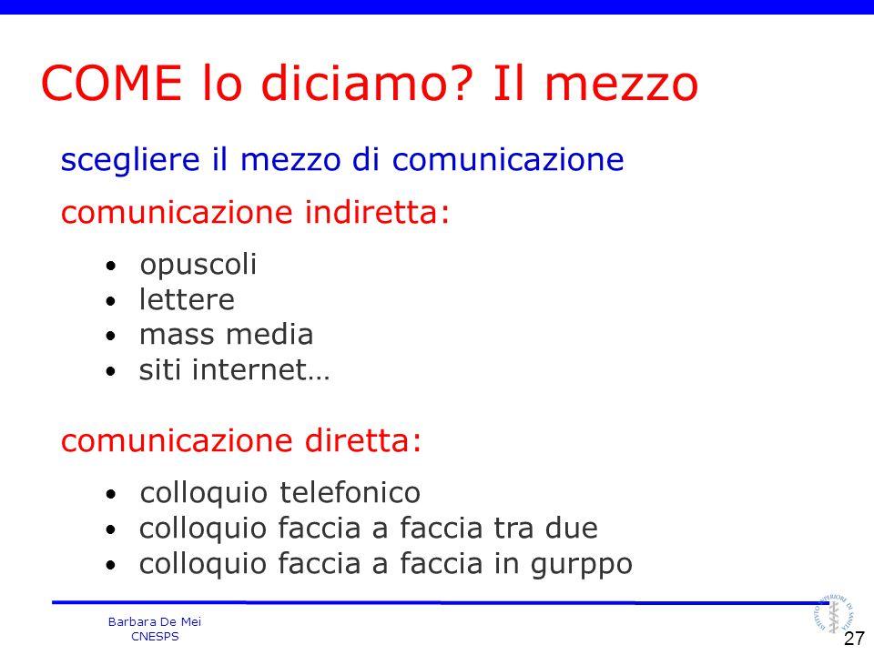 Barbara De Mei CNESPS scegliere il mezzo di comunicazione comunicazione indiretta: opuscoli lettere mass media siti internet… comunicazione diretta: c