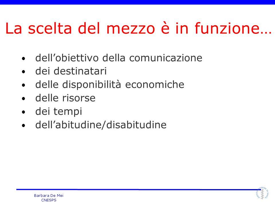 Barbara De Mei CNESPS dell'obiettivo della comunicazione dei destinatari delle disponibilità economiche delle risorse dei tempi dell'abitudine/disabit
