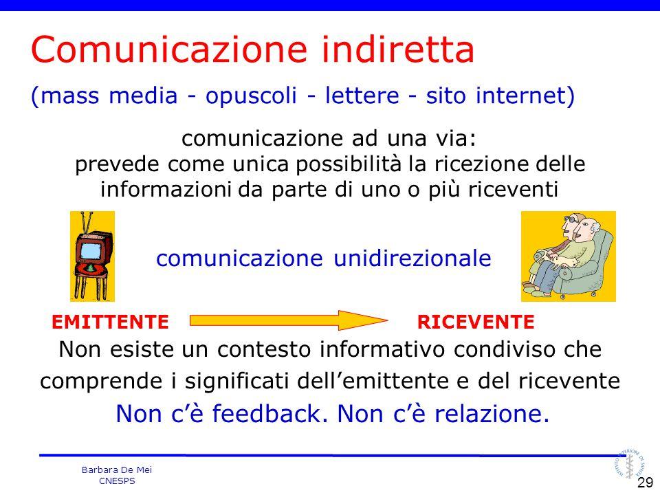 Barbara De Mei CNESPS comunicazione ad una via: prevede come unica possibilità la ricezione delle informazioni da parte di uno o più riceventi comunic
