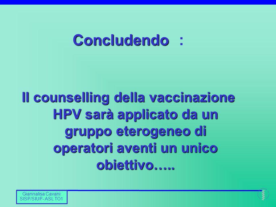 Barbara De Mei CNESPS Giannalisa Cavani SISP/SIUP- ASL TO1 Concludendo Concludendo : Il counselling della vaccinazione HPV sarà applicato da un gruppo