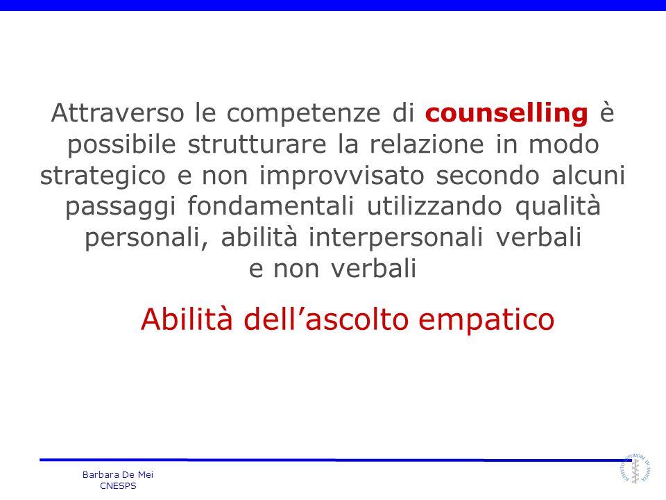 Barbara De Mei CNESPS Attraverso le competenze di counselling è possibile strutturare la relazione in modo strategico e non improvvisato secondo alcun