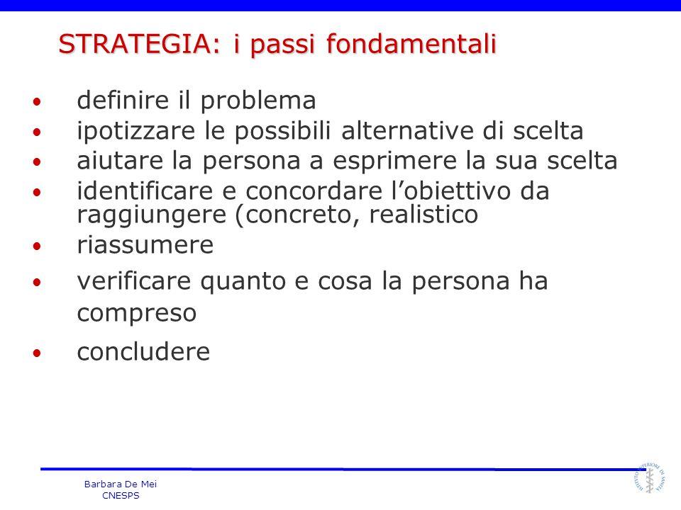 Barbara De Mei CNESPS STRATEGIA: i passi fondamentali definire il problema ipotizzare le possibili alternative di scelta aiutare la persona a esprimer