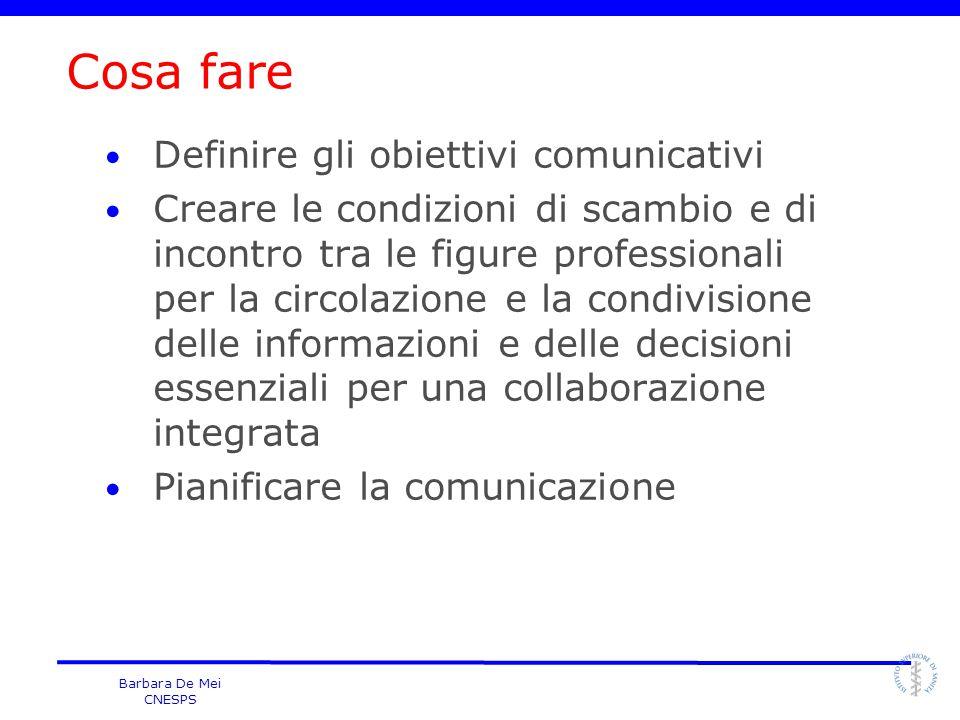 Barbara De Mei CNESPS Cosa fare Definire gli obiettivi comunicativi Creare le condizioni di scambio e di incontro tra le figure professionali per la c