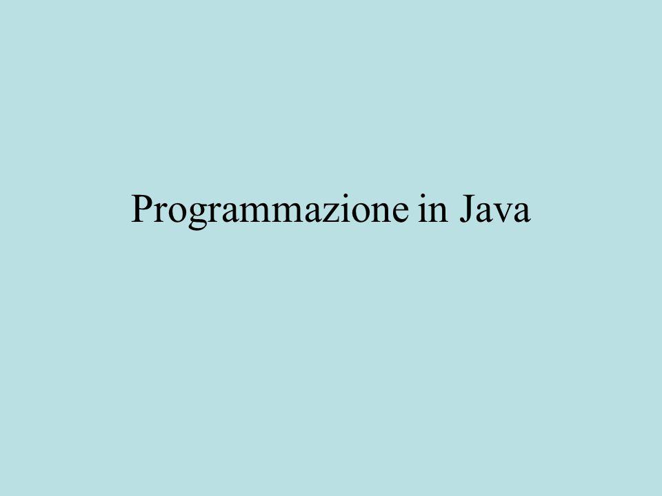 Classi I programmi in Java consistono di classi.