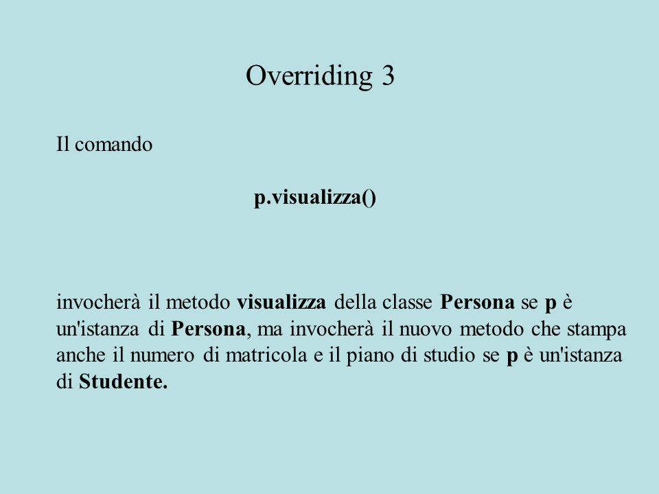Il comando p.visualizza() invocherà il metodo visualizza della classe Persona se p è un istanza di Persona, ma invocherà il nuovo metodo che stampa anche il numero di matricola e il piano di studio se p è un istanza di Studente.