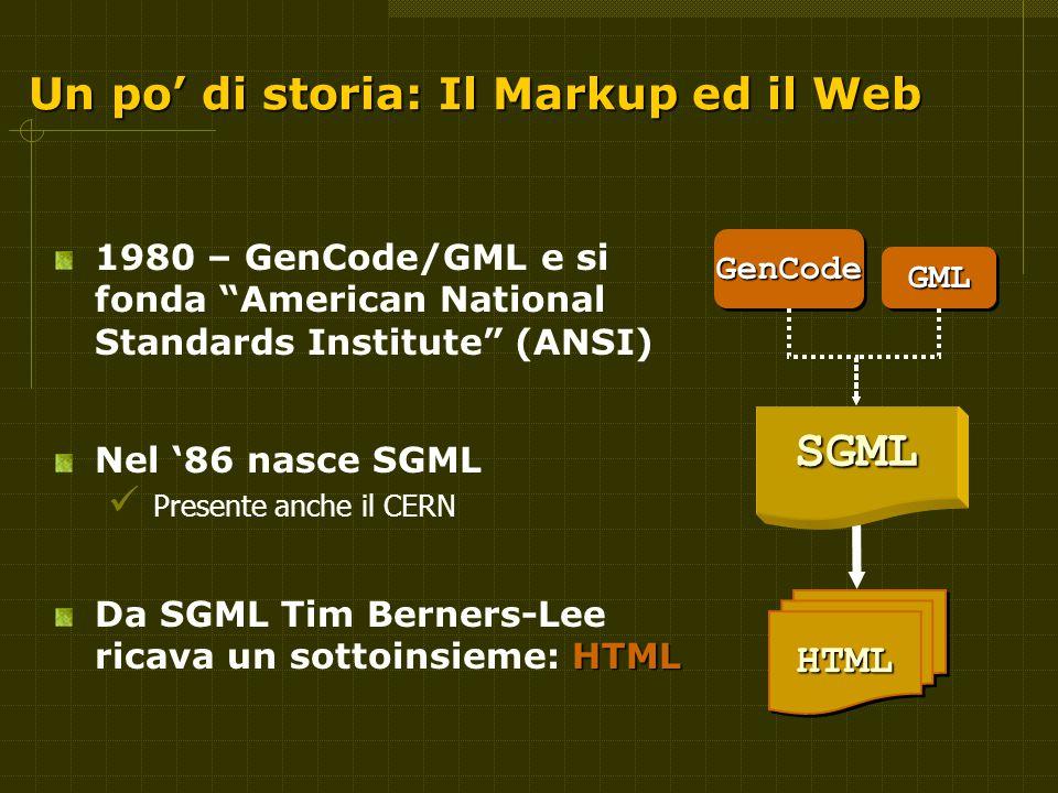 Un po' di storia: Il Markup ed il Web 1980 – GenCode/GML e si fonda American National Standards Institute (ANSI) Nel '86 nasce SGML Presente anche il CERN HTML Da SGML Tim Berners-Lee ricava un sottoinsieme: HTMLGenCodeGenCode GMLGML HTMLHTML SGML