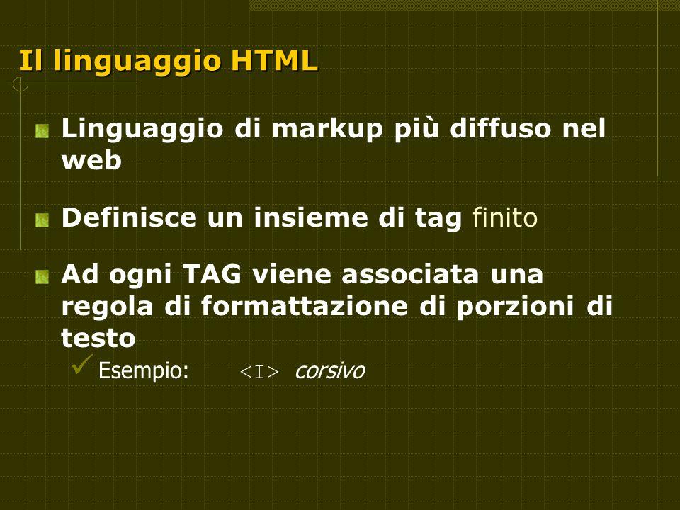 Il linguaggio HTML Linguaggio di markup più diffuso nel web Definisce un insieme di tag finito Ad ogni TAG viene associata una regola di formattazione di porzioni di testo Esempio: corsivo