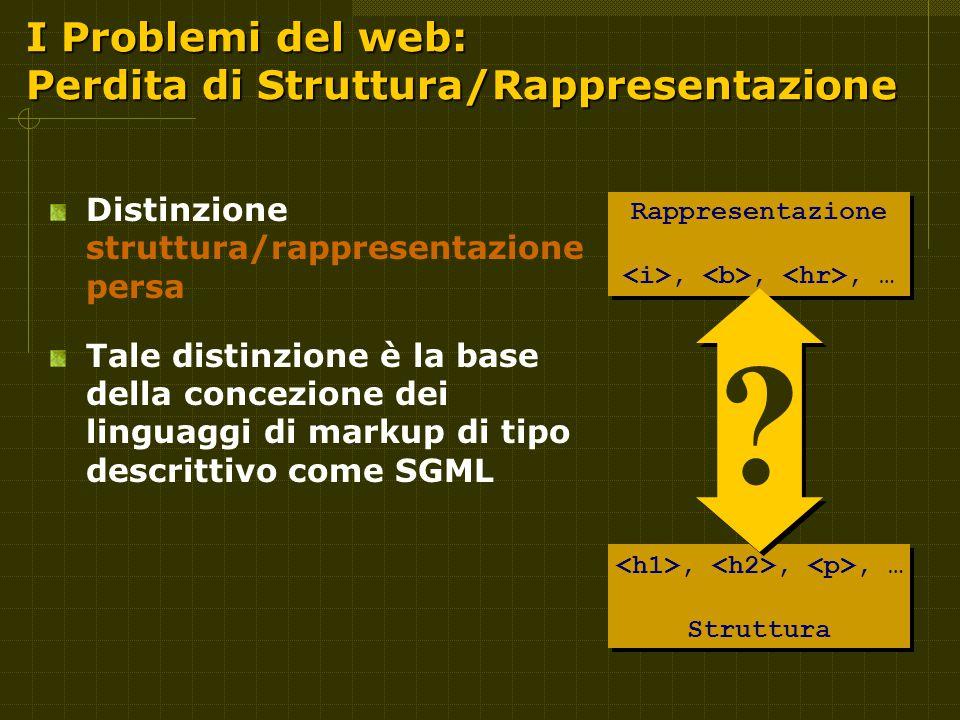 I Problemi del web: Perdita di Struttura/Rappresentazione Distinzione struttura/rappresentazione persa Tale distinzione è la base della concezione dei linguaggi di markup di tipo descrittivo come SGML Rappresentazione,,, …,,, … Struttura .