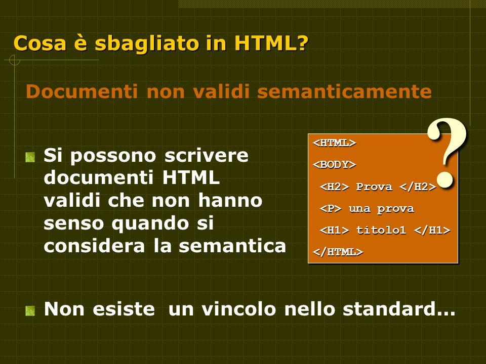Cosa è sbagliato in HTML.