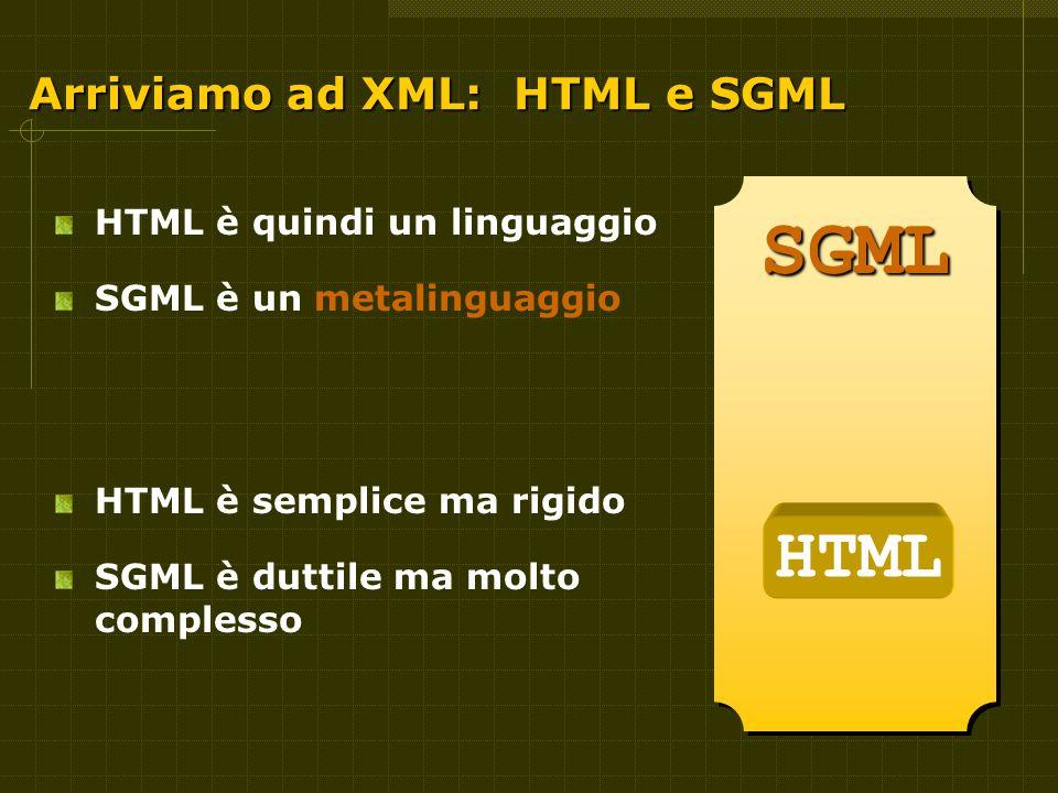 Arriviamo ad XML: HTML e SGML HTML è quindi un linguaggio SGML è un metalinguaggio HTML è semplice ma rigido SGML è duttile ma molto complesso SGMLSGML HTML
