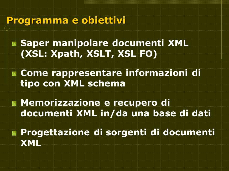 Programma e obiettivi Saper manipolare documenti XML (XSL: Xpath, XSLT, XSL FO) Come rappresentare informazioni di tipo con XML schema Memorizzazione e recupero di documenti XML in/da una base di dati Progettazione di sorgenti di documenti XML
