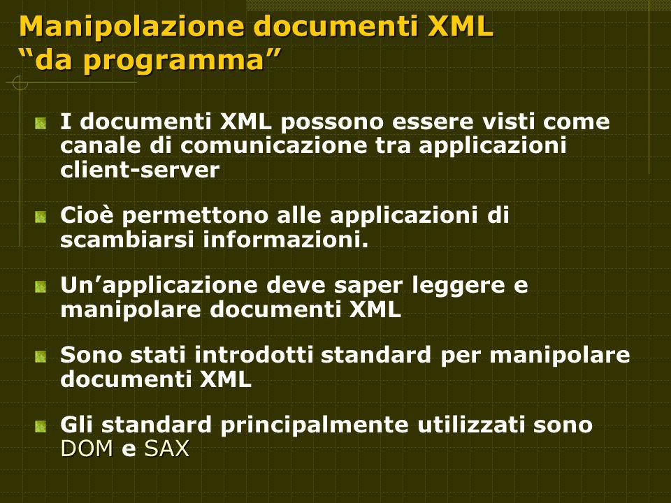 Manipolazione documenti XML da programma I documenti XML possono essere visti come canale di comunicazione tra applicazioni client-server Cioè permettono alle applicazioni di scambiarsi informazioni.