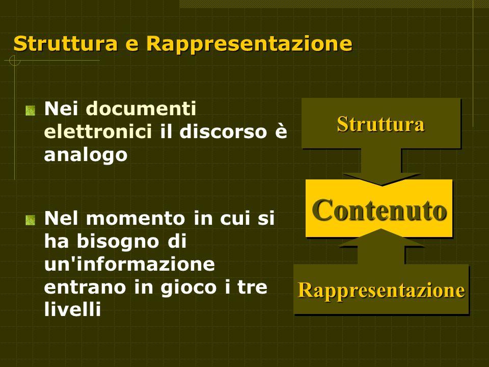 Struttura e Rappresentazione Nei documenti elettronici il discorso è analogo Nel momento in cui si ha bisogno di un informazione entrano in gioco i tre livelli ContenutoContenuto StrutturaStruttura RappresentazioneRappresentazione