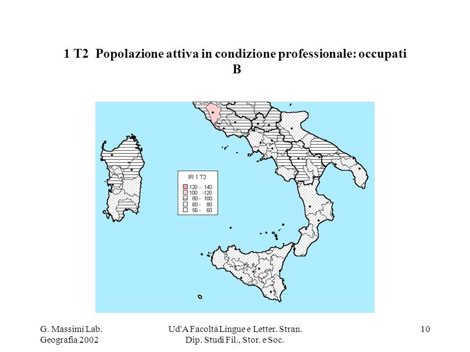 G. Massimi Lab. Geografia 2002 Ud'A Facoltà Lingue e Letter. Stran. Dip. Studi Fil., Stor. e Soc. 10 1 T2 Popolazione attiva in condizione professiona