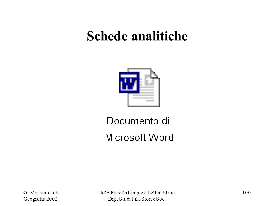 G. Massimi Lab. Geografia 2002 Ud'A Facoltà Lingue e Letter. Stran. Dip. Studi Fil., Stor. e Soc. 100 Schede analitiche