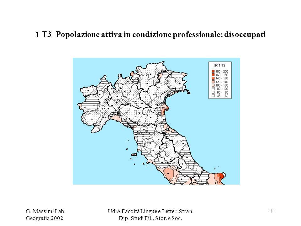 G. Massimi Lab. Geografia 2002 Ud'A Facoltà Lingue e Letter. Stran. Dip. Studi Fil., Stor. e Soc. 11 1 T3 Popolazione attiva in condizione professiona
