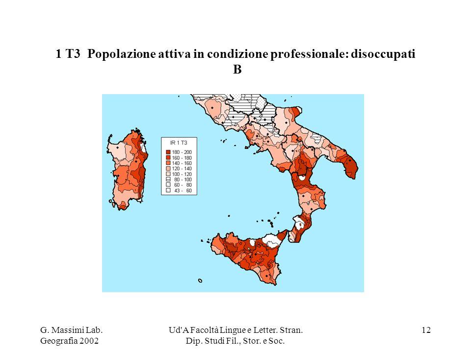 G. Massimi Lab. Geografia 2002 Ud'A Facoltà Lingue e Letter. Stran. Dip. Studi Fil., Stor. e Soc. 12 1 T3 Popolazione attiva in condizione professiona