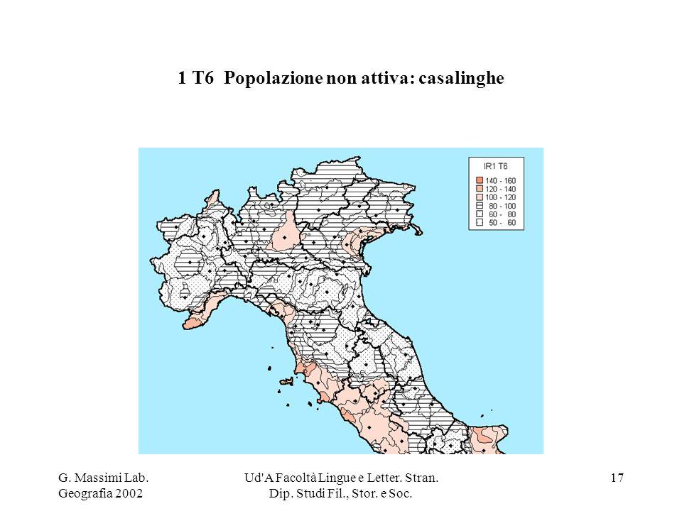 G. Massimi Lab. Geografia 2002 Ud'A Facoltà Lingue e Letter. Stran. Dip. Studi Fil., Stor. e Soc. 17 1 T6 Popolazione non attiva: casalinghe