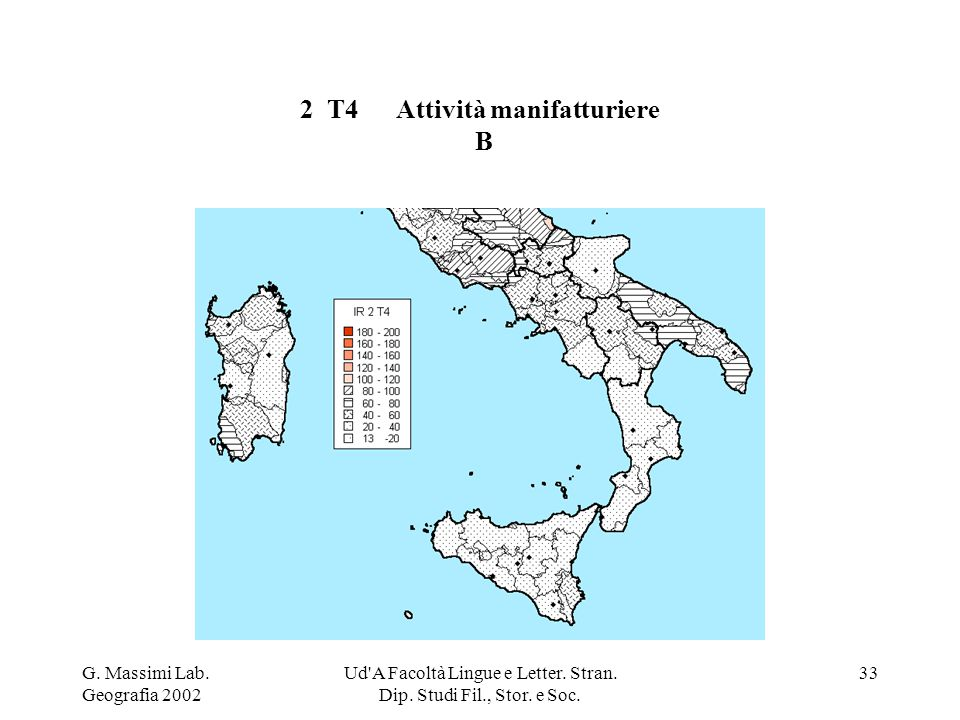G. Massimi Lab. Geografia 2002 Ud'A Facoltà Lingue e Letter. Stran. Dip. Studi Fil., Stor. e Soc. 33 2 T4Attività manifatturiere B