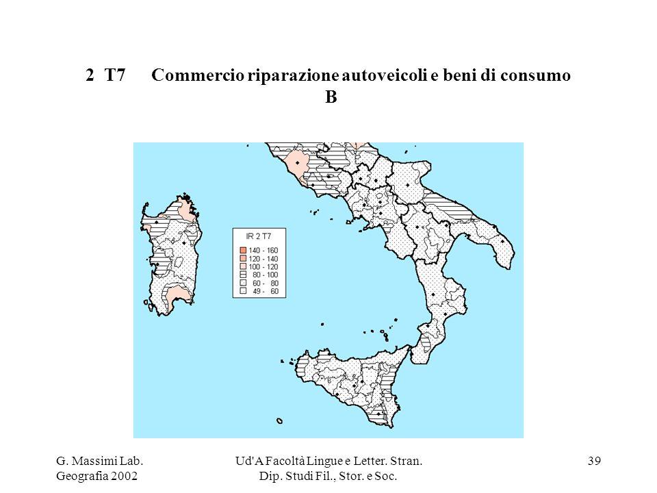 G. Massimi Lab. Geografia 2002 Ud'A Facoltà Lingue e Letter. Stran. Dip. Studi Fil., Stor. e Soc. 39 2 T7Commercio riparazione autoveicoli e beni di c