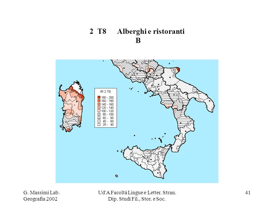 G. Massimi Lab. Geografia 2002 Ud'A Facoltà Lingue e Letter. Stran. Dip. Studi Fil., Stor. e Soc. 41 2 T8Alberghi e ristoranti B