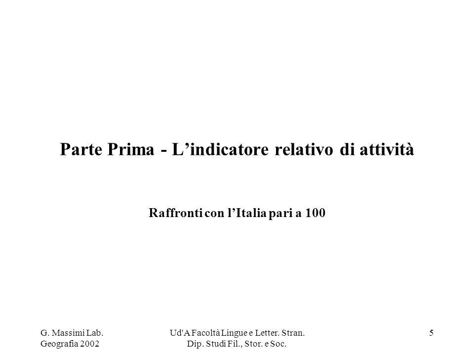 G.Massimi Lab. Geografia 2002 Ud A Facoltà Lingue e Letter.