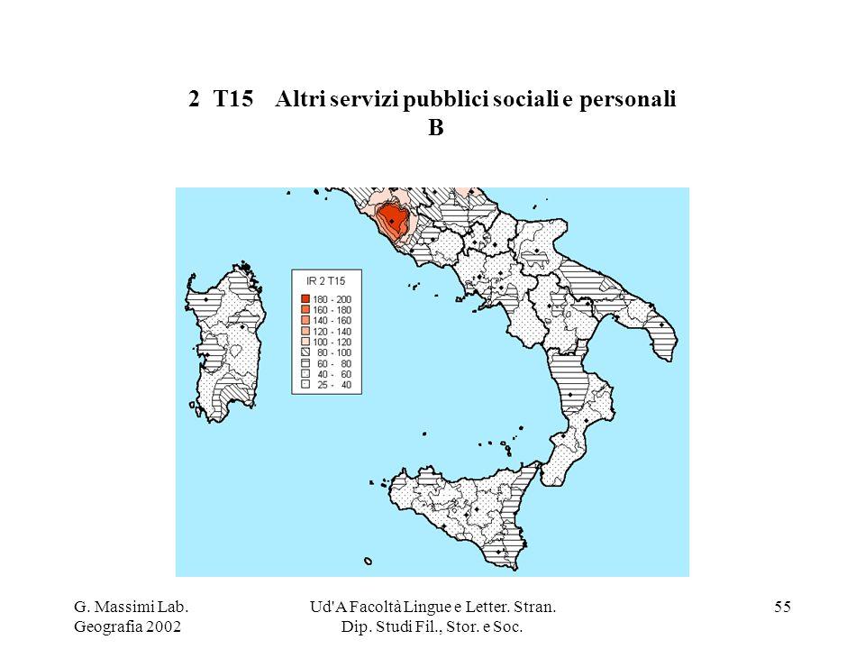 G. Massimi Lab. Geografia 2002 Ud'A Facoltà Lingue e Letter. Stran. Dip. Studi Fil., Stor. e Soc. 55 2 T15Altri servizi pubblici sociali e personali B