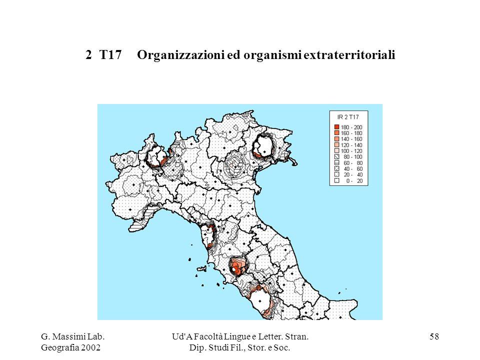 G. Massimi Lab. Geografia 2002 Ud'A Facoltà Lingue e Letter. Stran. Dip. Studi Fil., Stor. e Soc. 58 2 T17 Organizzazioni ed organismi extraterritoria