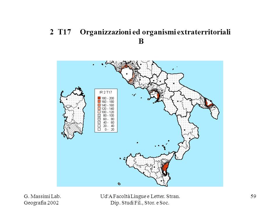 G. Massimi Lab. Geografia 2002 Ud'A Facoltà Lingue e Letter. Stran. Dip. Studi Fil., Stor. e Soc. 59 2 T17 Organizzazioni ed organismi extraterritoria
