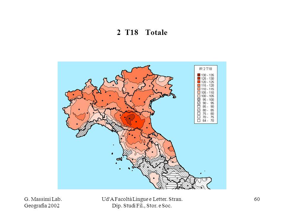 G. Massimi Lab. Geografia 2002 Ud'A Facoltà Lingue e Letter. Stran. Dip. Studi Fil., Stor. e Soc. 60 2 T18Totale