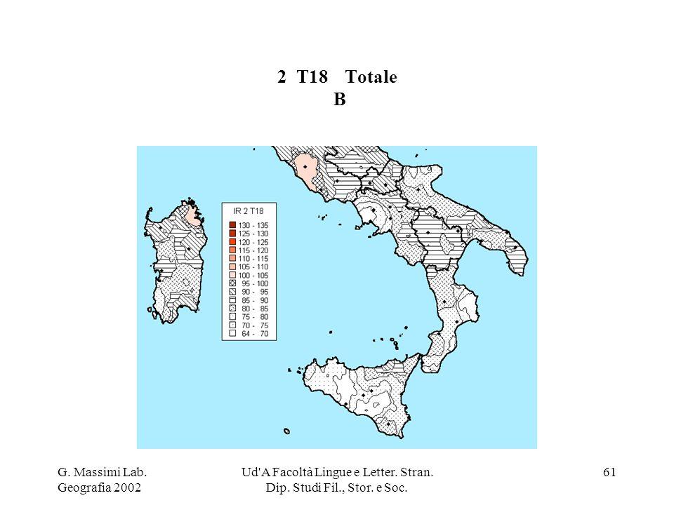 G. Massimi Lab. Geografia 2002 Ud'A Facoltà Lingue e Letter. Stran. Dip. Studi Fil., Stor. e Soc. 61 2 T18Totale B