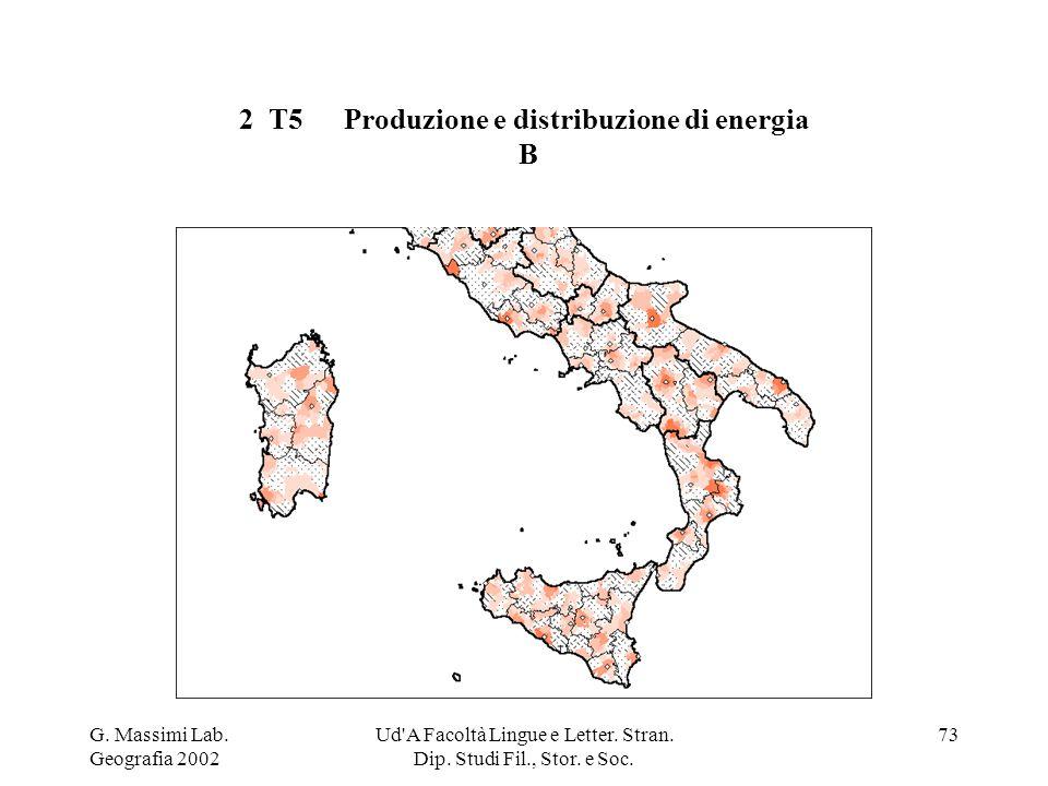 G. Massimi Lab. Geografia 2002 Ud'A Facoltà Lingue e Letter. Stran. Dip. Studi Fil., Stor. e Soc. 73 2 T5Produzione e distribuzione di energia B