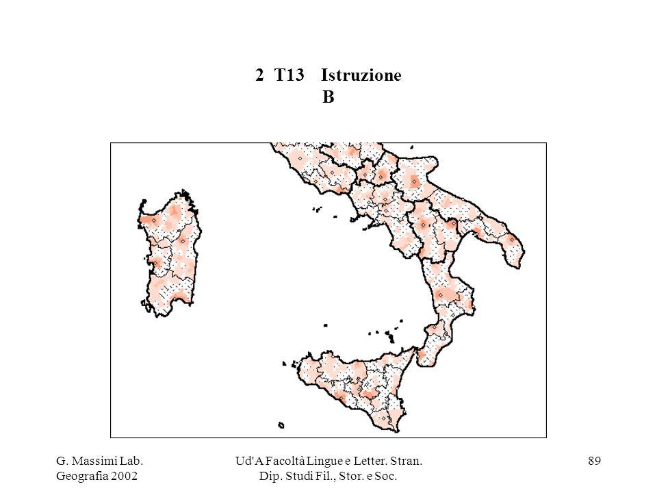 G. Massimi Lab. Geografia 2002 Ud'A Facoltà Lingue e Letter. Stran. Dip. Studi Fil., Stor. e Soc. 89 2 T13Istruzione B