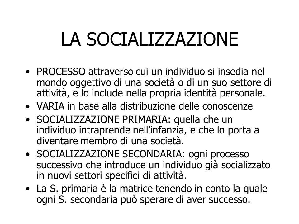 LA SOCIALIZZAZIONE PROCESSO attraverso cui un individuo si insedia nel mondo oggettivo di una società o di un suo settore di attività, e lo include ne