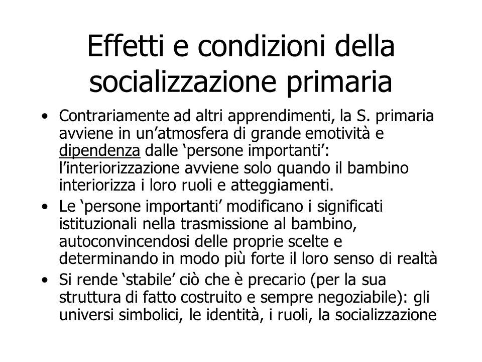 Effetti e condizioni della socializzazione primaria Contrariamente ad altri apprendimenti, la S. primaria avviene in un'atmosfera di grande emotività