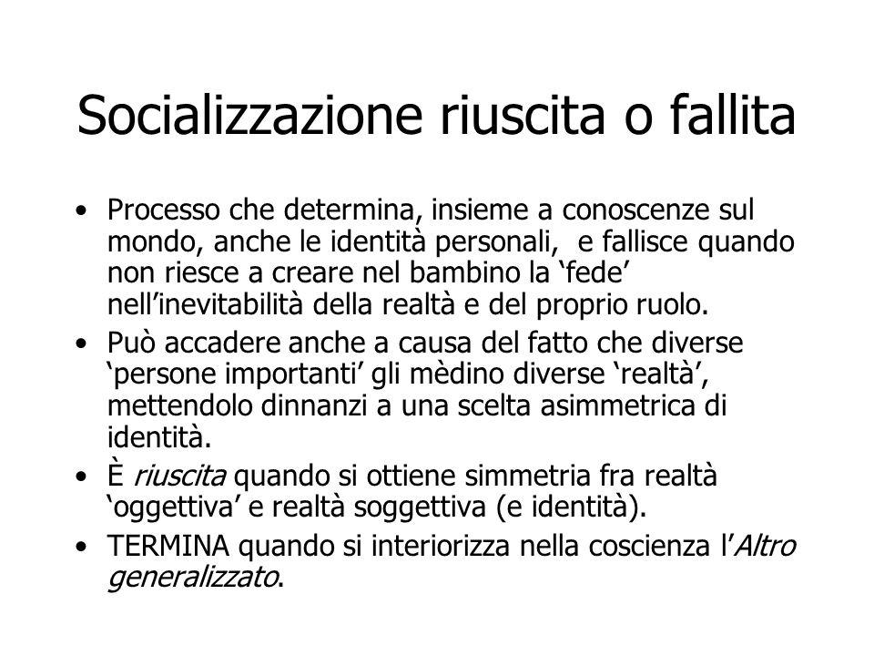 Socializzazione riuscita o fallita Processo che determina, insieme a conoscenze sul mondo, anche le identità personali, e fallisce quando non riesce a