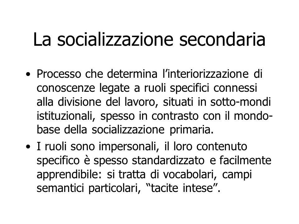 La socializzazione secondaria Processo che determina l'interiorizzazione di conoscenze legate a ruoli specifici connessi alla divisione del lavoro, si