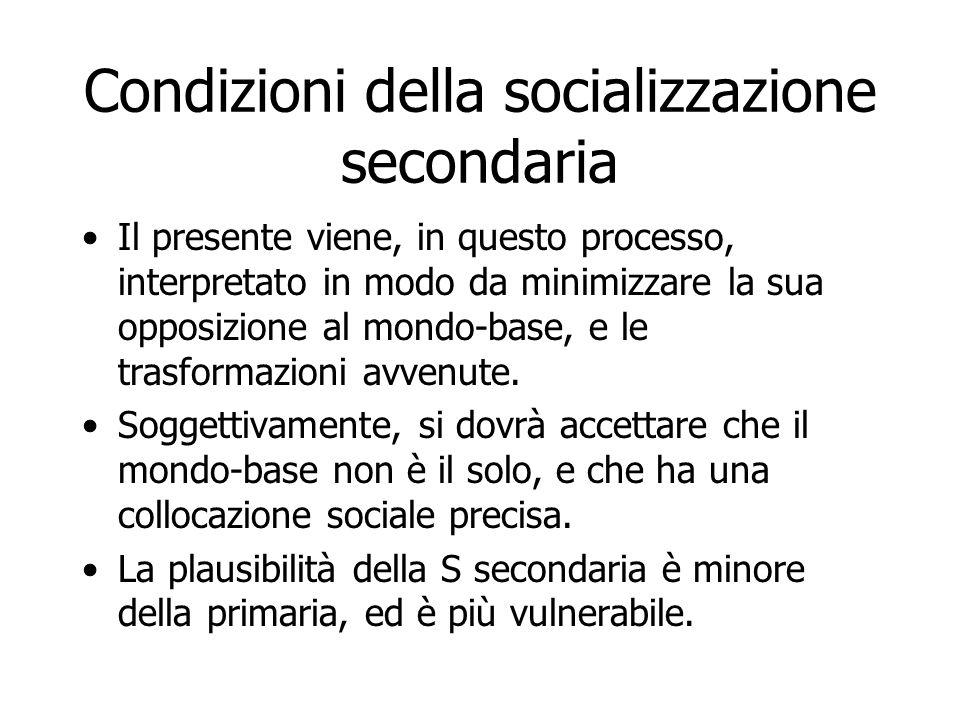 Condizioni della socializzazione secondaria Il presente viene, in questo processo, interpretato in modo da minimizzare la sua opposizione al mondo-bas