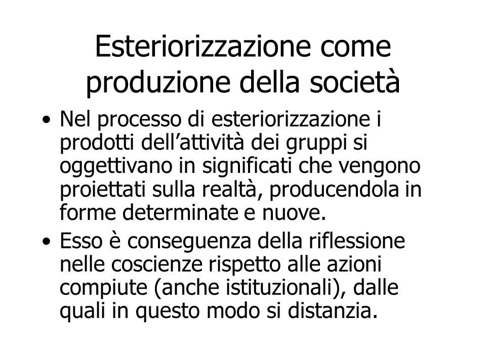 Esteriorizzazione come produzione della società Nel processo di esteriorizzazione i prodotti dell'attività dei gruppi si oggettivano in significati ch